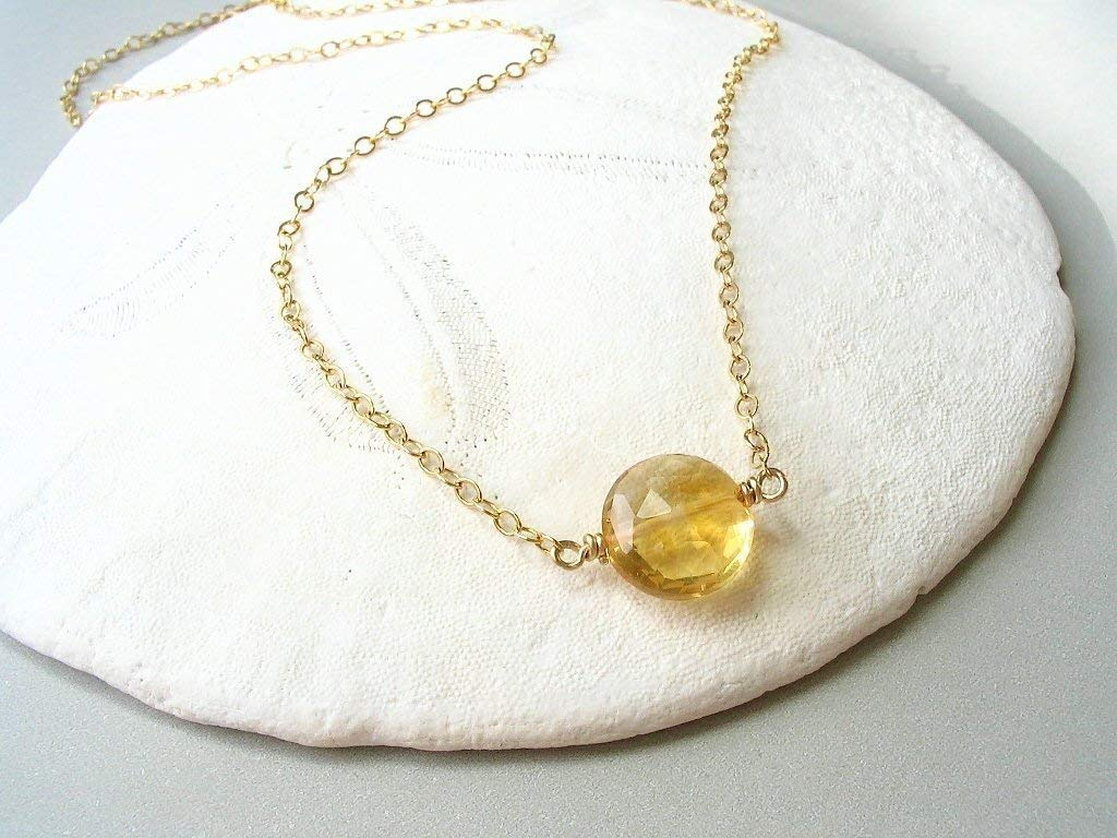 Citrine Single Stone Gemstone Necklace 14K Gold Filled 16 Inches
