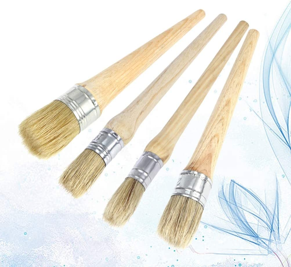 HEALLILY 4Pcs Wax Brush Professional Chalk Paint Brushes Painting Waxing Brushes with Natural Bristles for Folkart Painting Furniture 20MM 25MM 30MM 40MM