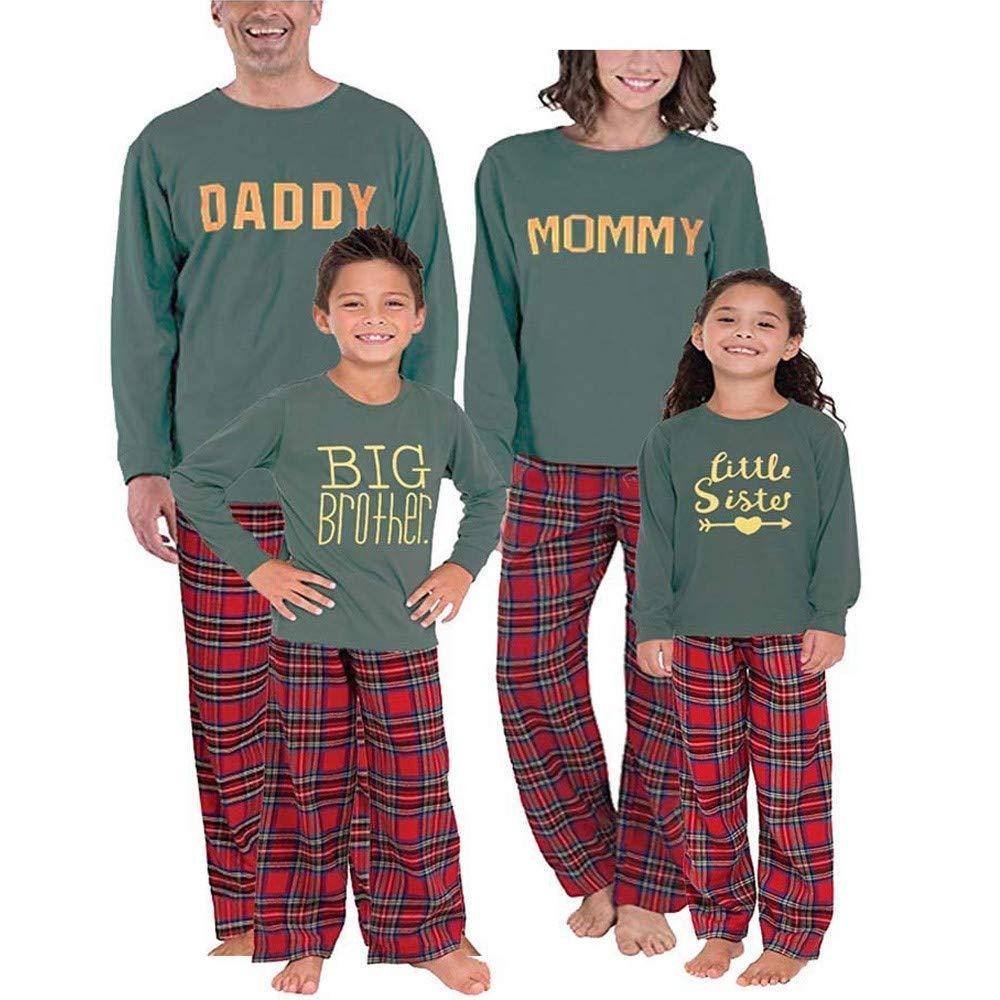 Family Matching Clothes Christmas Pyjama Sets Parent-child suit Homewear Family Clothing Set Women Man Newborn Infant Baby Boy Girl Xmas Sleepwear, 3PCS Letter Romper+Pants+Hat