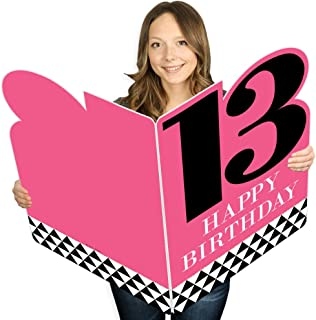 product image for Big Dot of Happiness Chic 13th Birthday - Pink, Black and Gold - Happy Birthday Giant Greeting Card - Big Shaped Jumborific Card - 16.5 x 22 inches