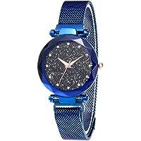 Starry Sky Orologio da donna Orologio Diamond Cut Starry Sky Dial Cinturino in maglia Bracciale da polso