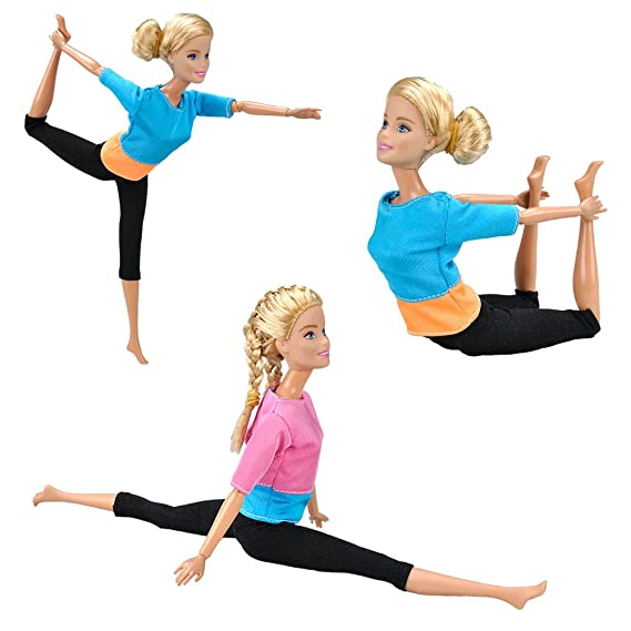E-TING Yoga Hecho a Mano Ropa Gimnasio Trajes Deportiva para muñeca de niña(2 Sets Combo)(muñeca no incluida)