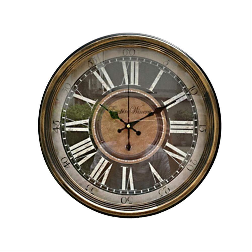 XIUHHE Jardín campestre con Reloj de Pared de Cristal de Hierro Puro, Reloj de Pared Redondo para decoración del hogar A