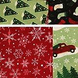 5 pcs Christmas Cotton Fabric Bundles Sewing