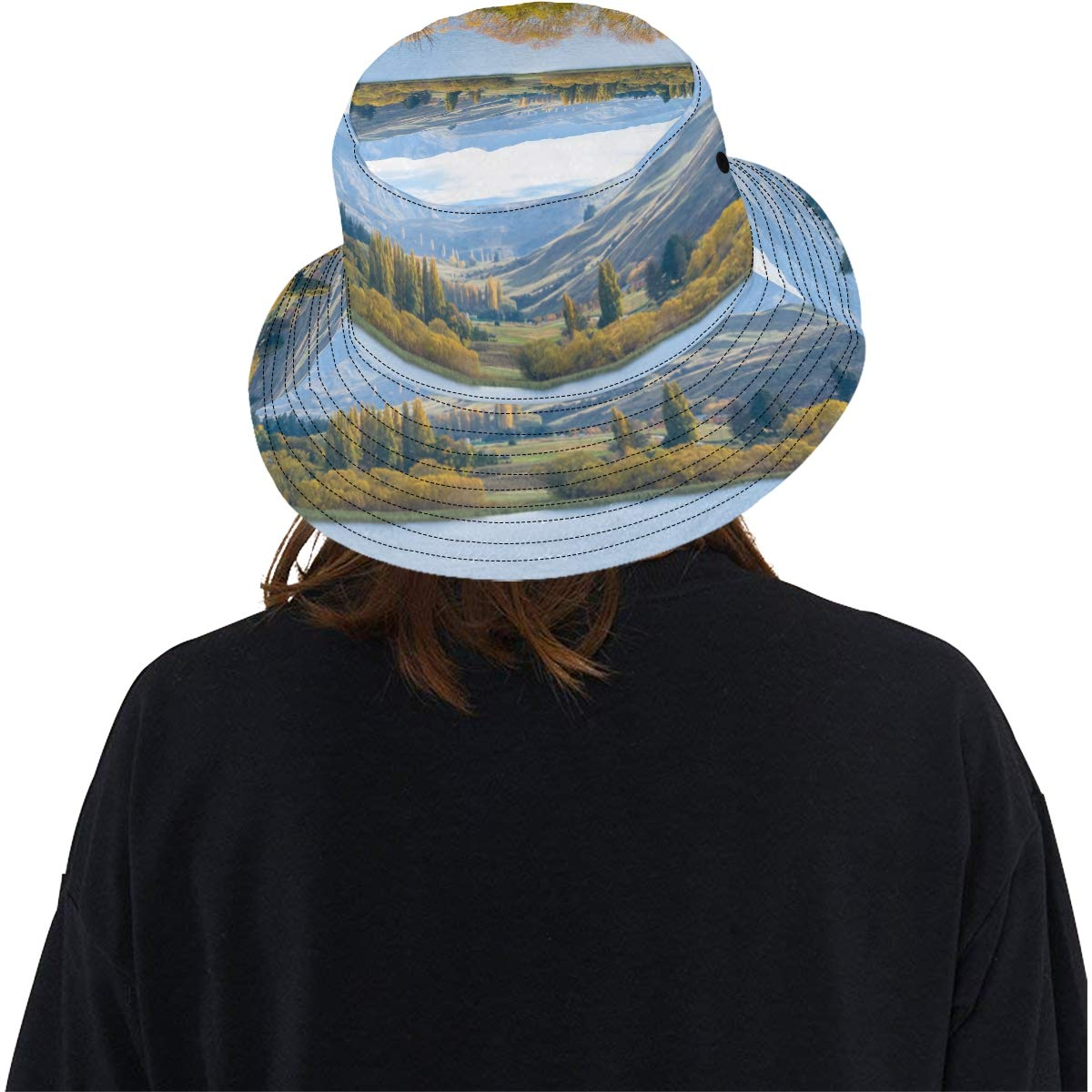 Beautiful New South Island New Summer Unisex Cotton Fashion Fishing Sun Bucket Hats for Kid Teens Women and Men with Customize Top Packable Fisherman Cap for Outdoor Travel