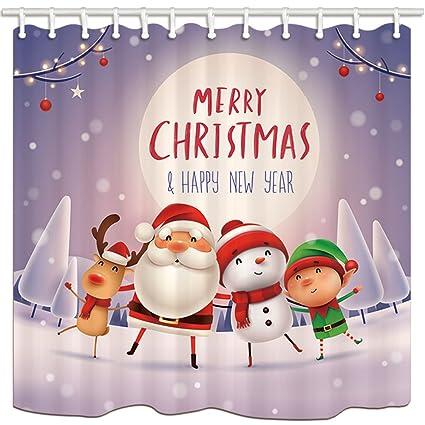 KOTOM Navidad Impermeable Cortinas de Ducha, Rama Bola Santa muñeco de Nieve Payaso Reno árbol