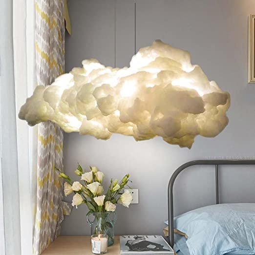 Floating Cloud Pendant Lamp Cotton Silk Chandelier Decor Child Room Gifts LED