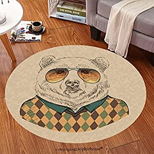 Sophiehome Soft Carpet 147652253 vector illustration of bear portrait in sunglasses and pullover, retro style, hipster look Anti-skid Carpet Round 79 inches