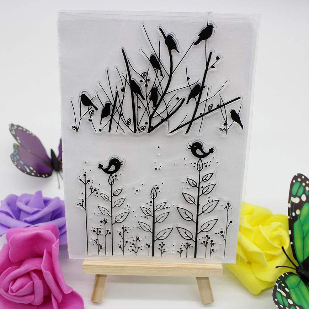 Bird /& Tree Gemini/_mall Scrapbooking Embossing Printing Stamper Folder Template Transparent Rubber Stamp for DIY Album Paper Card Art Craft Decor Gift