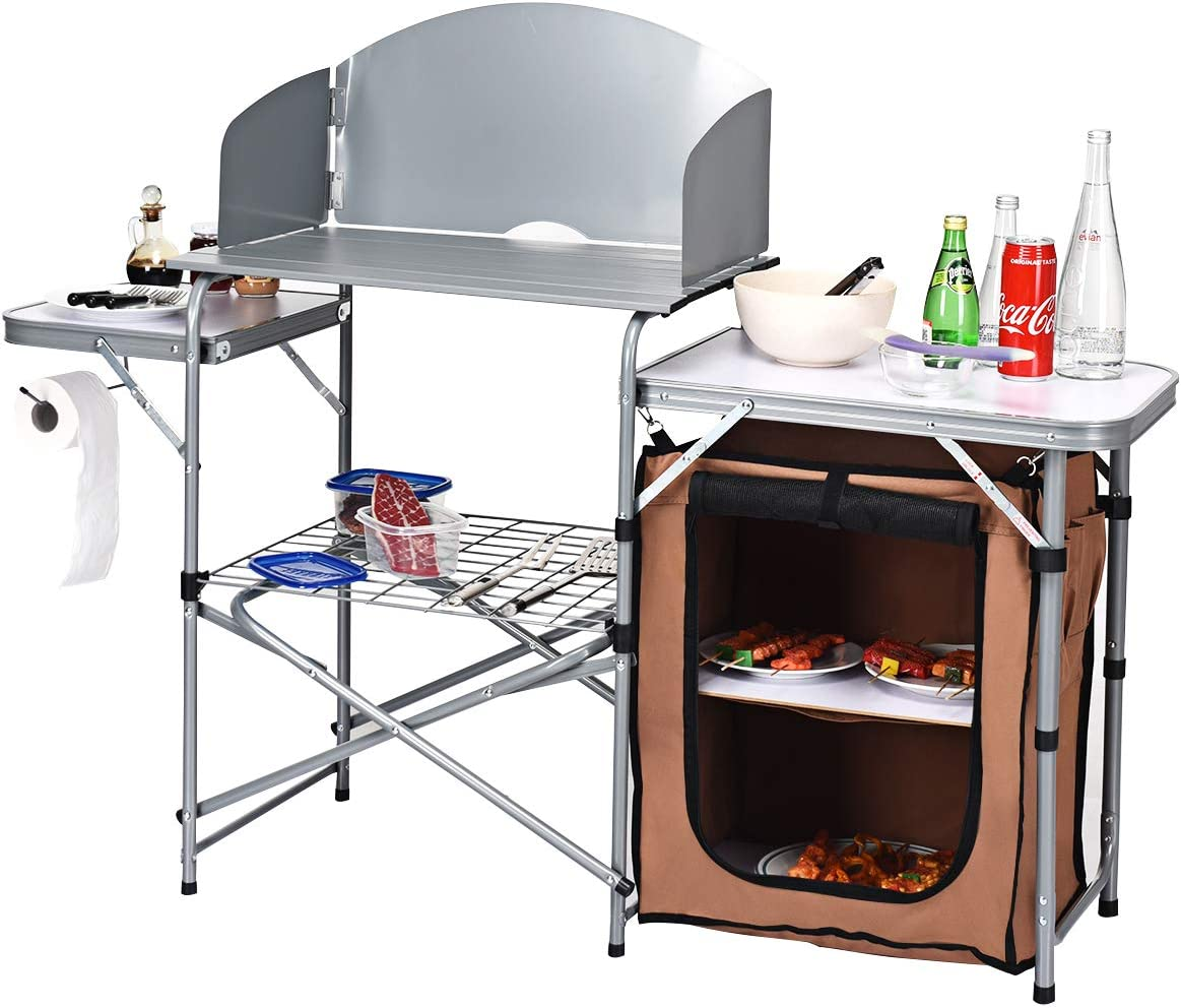 GYMAX Aluminum Folding Camping Table with Windscreen, Outdoor Grill Table with Storage Lower Shelf Carrying Bag, Heavy Duty Lightweight Picnic Table for BBQ, Backyards