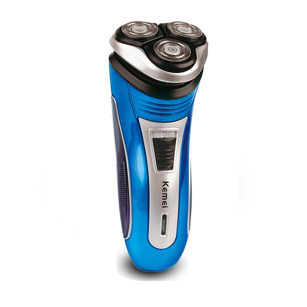 iXpro Blue Rechargeable Rotary Shaver for Men Electric Cordless 3 Heads Floating Blades Beard Trimmer