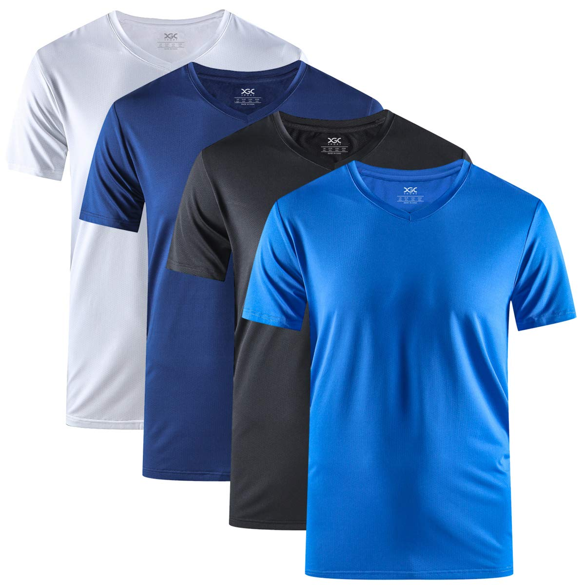 XGC Men's Sport T-Shirt Quick Dry Short Sleeve Training Fitness Tee Shirt 1 to 4 Pack