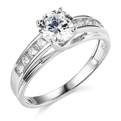 Twjc 14k Yellow Or White Gold Solid Wedding Engagement Ring Amazon Com