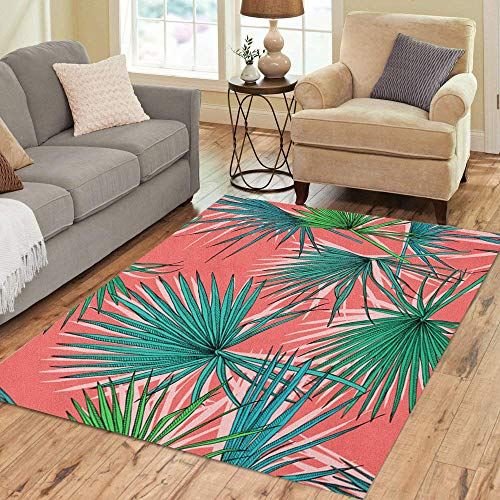 Semtomn Area Rug 3' X 5' Leaf of Green Fan Palm Leaves on Coral Tropical Home Decor Collection Floor Rugs Carpet for Living Room Bedroom Dining Room