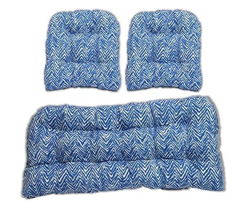 3 Pieceウィッカークッションセット – インドア/アウトドアウィッカーLoveseat Settee & 2一致する椅子クッション – ブルーとホワイトZebra   B06XDB6RJJ