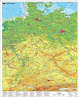 Deutschland Physisch Wandkarte Poster Amazon De Stiefel