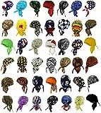 Doo Rags Head Wraps 12 ASSORTED DESIGNS Motorcycle Bandana Caps