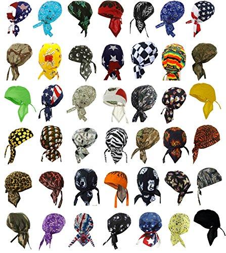 Doo Rags Head Wraps 12 Assorted Designs Motorcycle Bandana ()