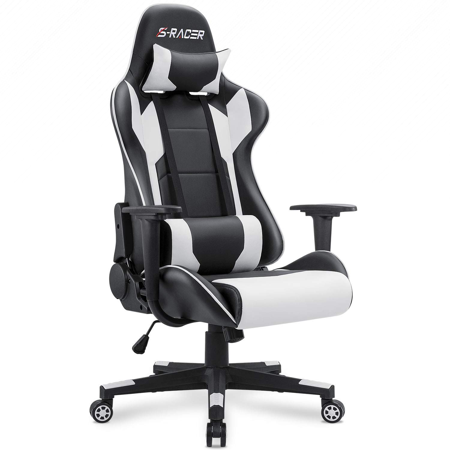 Homall Gaming Chair Office Chair High Back Computer Chair PU Leather Desk Chair PC Racing Executive Ergonomic Adjustable Swivel Task Chair with Headrest and Lumbar Support White