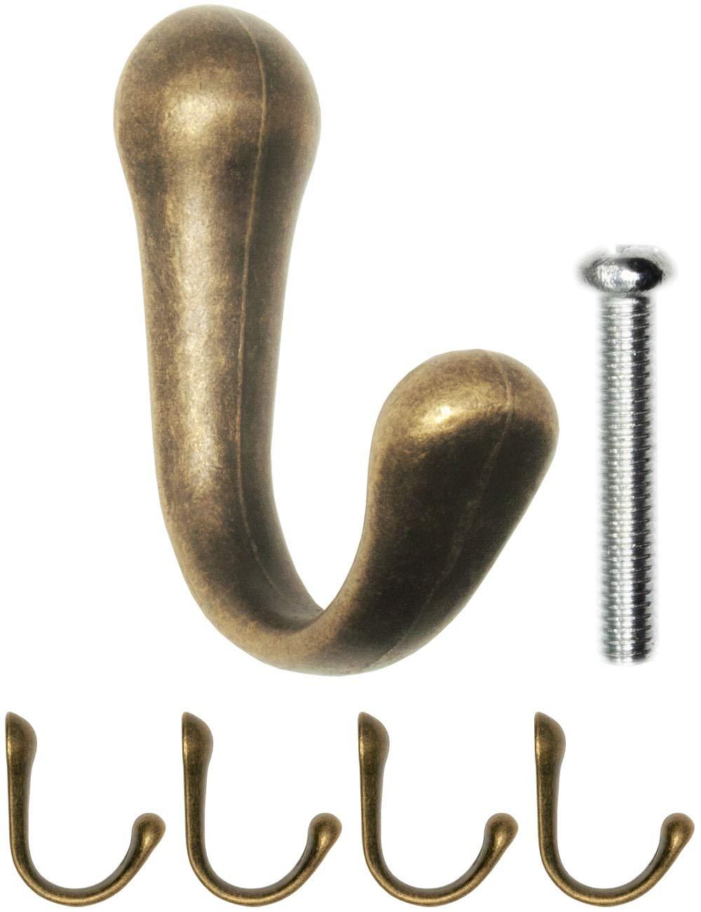 Garderoben-Haken bronze Antik-Haken Vintage Landhaus Retro Handtuch-Haken Kleider-Haken M/öbel-Haken 4er Set 42 X 32mm antikes Bronze-Design FUXXER/®