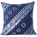 Eyes of India - 24'' Blue Kantha Printed Throw Couch Sofa Shibori Pillow Cover Colorful Decorative Cushion Boho Indian BohemianCover Only