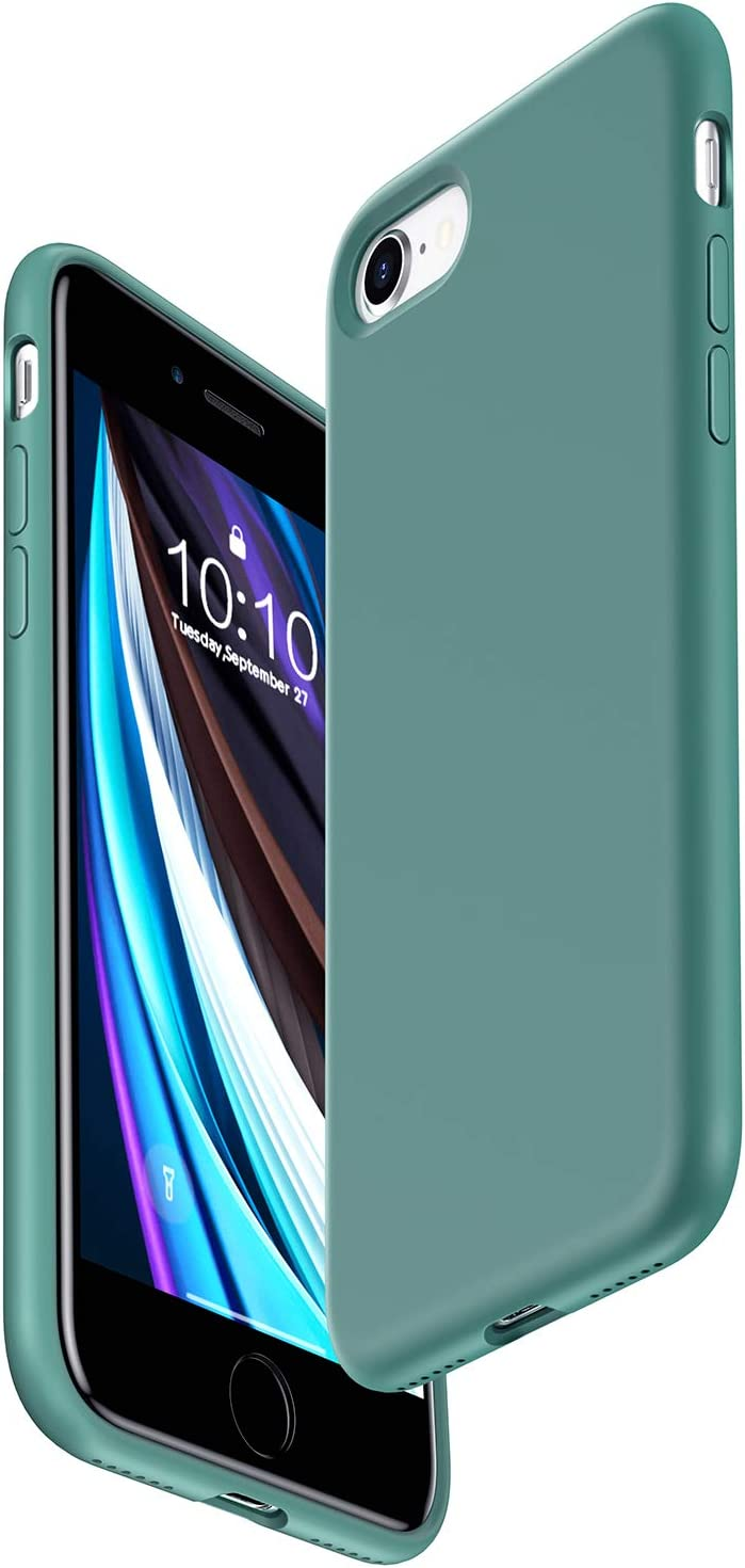 Danbey Silicone Case for iPhone SE Case 2020, for iPhone 8 Case, for iPhone 7 Case, 4.7-inch, Liquid Silicone, Matte Surface Skin Feeling, Charming Solid Color - Spruce Green