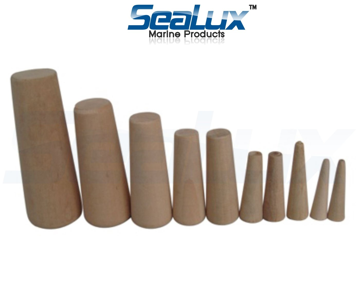 SeaLux Marine Tapered Conical Thru-hull Emergency soft Wood Plugs Set of 10 for small hull