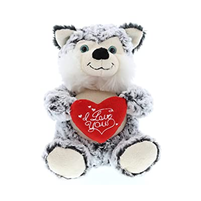 DolliBu Sitting Husky I Love You Valentines Stuffed Animal - Heart Message - 10 inch - Wedding, Anniversary, Date Night, Long Distance, Get Well Gift for Her, Him, Kids - Super Soft Plush: Toys & Games [5Bkhe0204282]