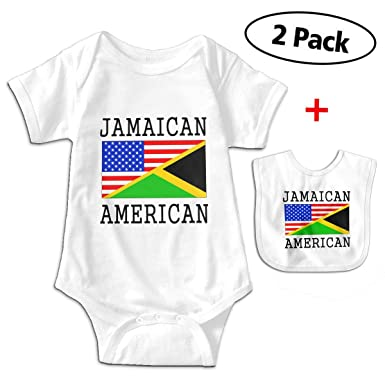32e248fe9 Amazon.com  Leopoldson Jamaican American Flag Baby Bodysuits Short ...