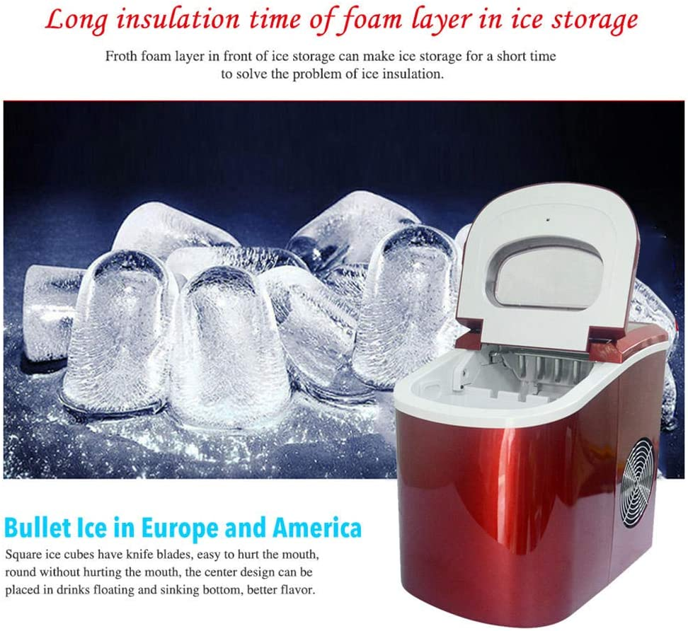 Electric Ice Maker with Scoop and Basket 26lbs Bullet Ice Cubes in 24H 9 Ice Cubes Ready in 8-10 Minutes Ice Maker Machine for Countertop