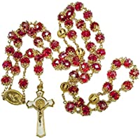 Blue White Style St Benedict Gold Plated Red Crystals Rosary Beads Miraculous Medal Catholic