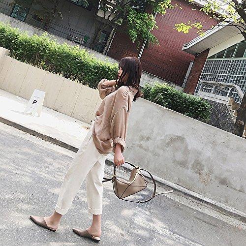 punta femminile a rete tacco piatte Baotou 40 mezza mezza Scarpe DHG rossa bufalo senza Muler estate pelle di 5qUOnxEYwz