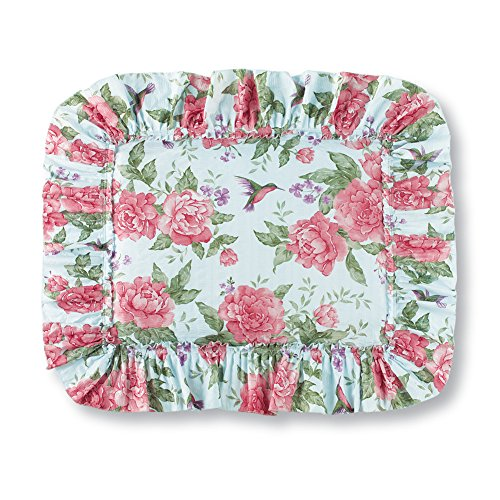 Collections Etc Peony Floral Hummingbird Garden Ruffled Edge Pillow Sham, Blue, Sham from Collections Etc