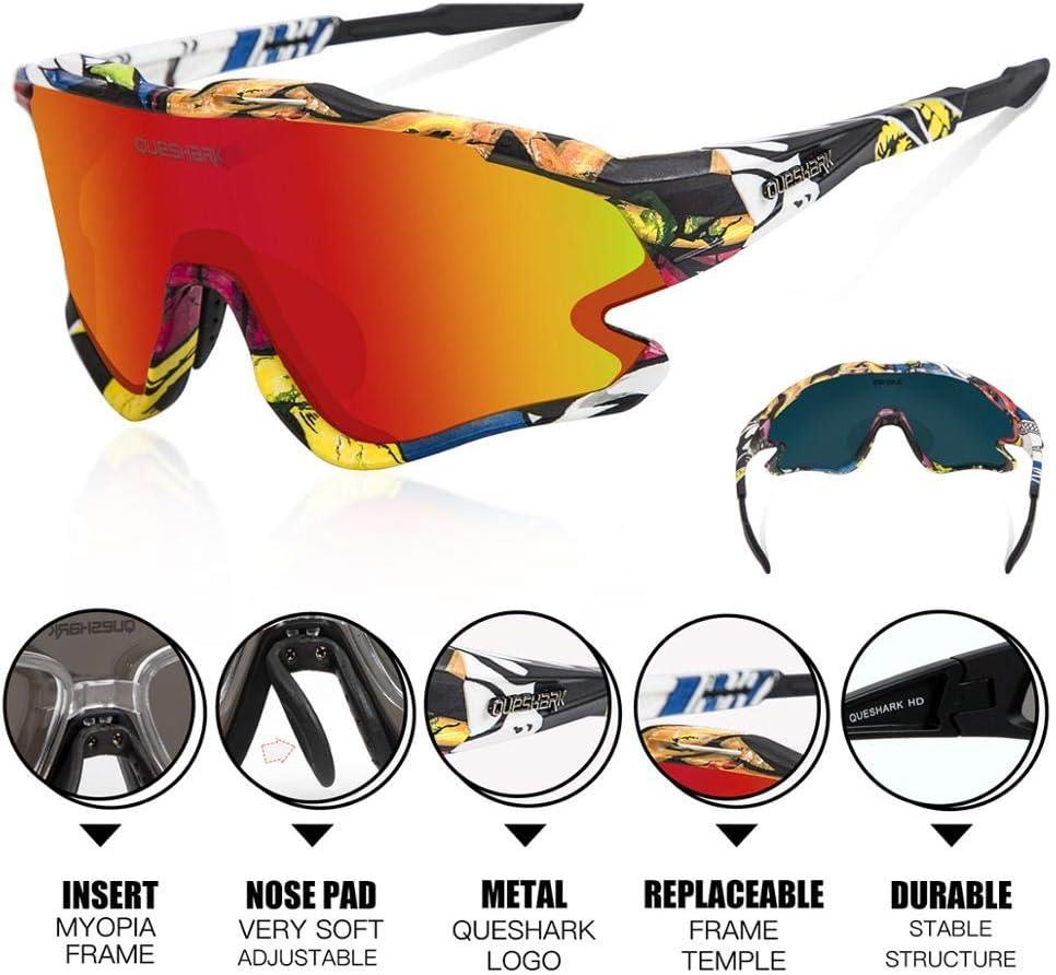 Queshark Fahrradbrille TR90 Unbreakable Frame f/ür M/änner Frauen mit 1 Polarisierte Linse 3 HD Linse Anti-UV400 zum Fahren Angeln Laufen Wandern QE0051