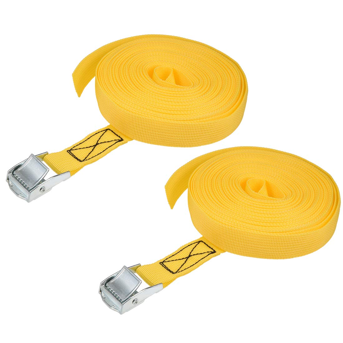 sourcing map Amarre de amarre de carga de 10 mx25 mm con hebilla de leva Carga de trabajo de 250 kg amarillo