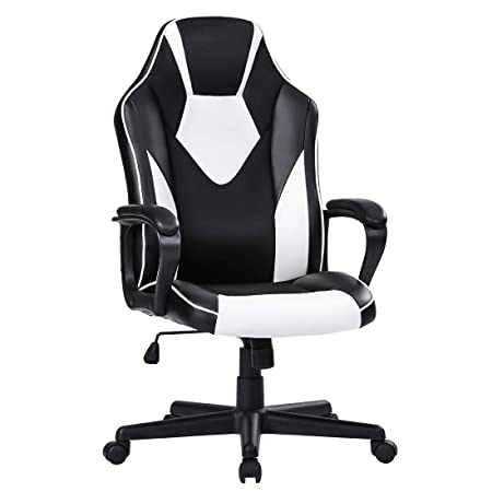 Novelland Essentials Racing Style Leather Gaming Chair – Ergonomic Swivel Computer, Office or Gaming Chair