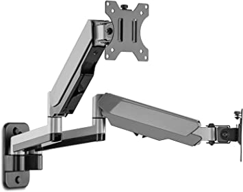 """AVLT-Power Dual 32"""" Monitor Wall Mount - Mounts Two 17.6 lbs Computer Monitors on 2 Full Motion Adjustable Arms - Organize Your Work Surface with Ergonomic Viewing Angle VESA Monitor Mount"""