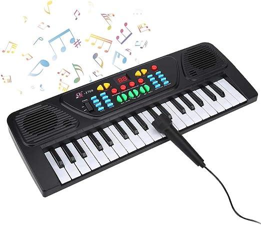 VGBEY Piano Eléctrico, 37 Teclas Juguete de Mini Teclado de Piano Electrónico, Instrumentos Musicales con Micrófono para Niños, Adolescentes