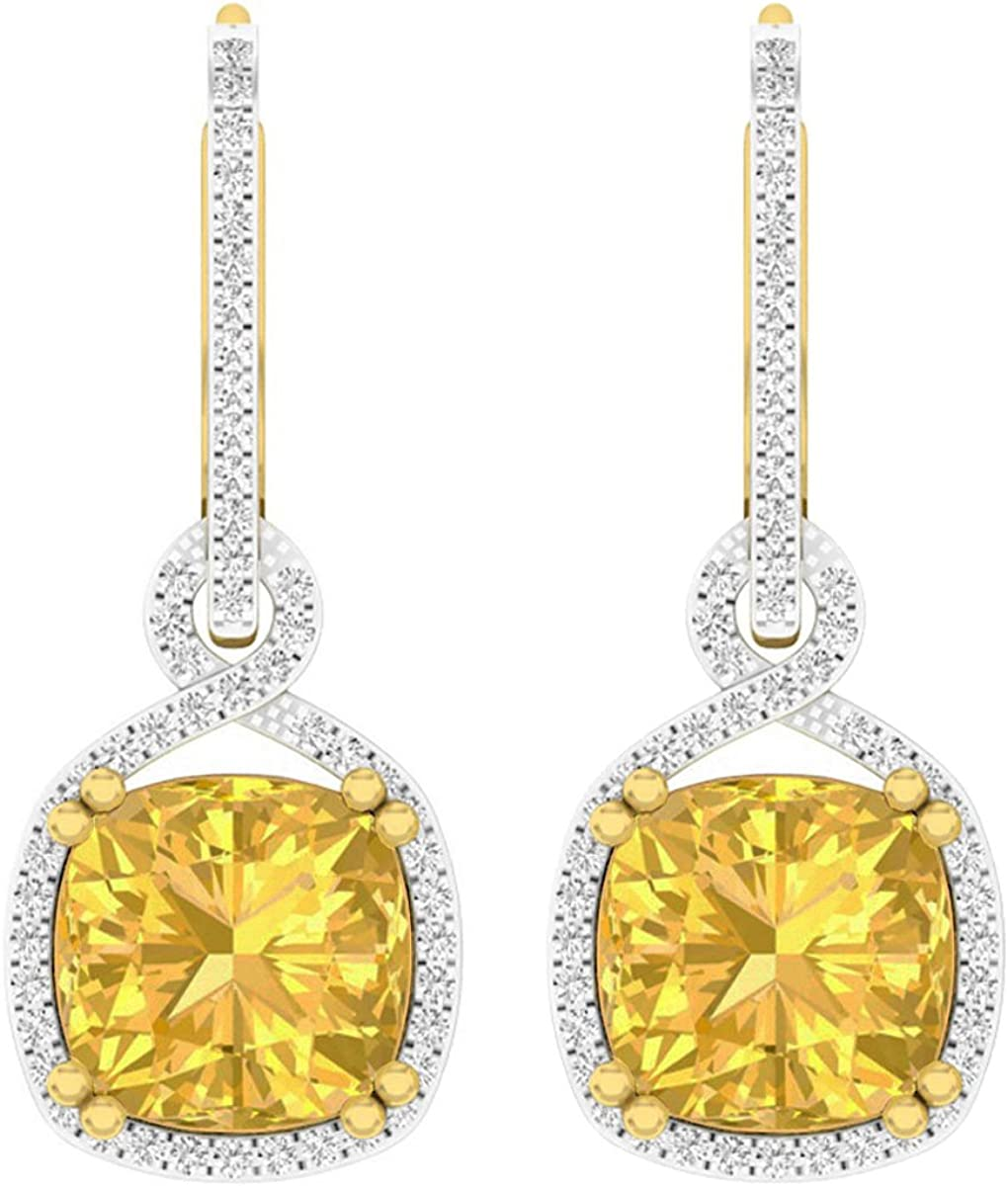 Pendientes colgantes de oro amarillo de 14 quilates, 10 mm, cada cojín con piedras preciosas y diamante redondo
