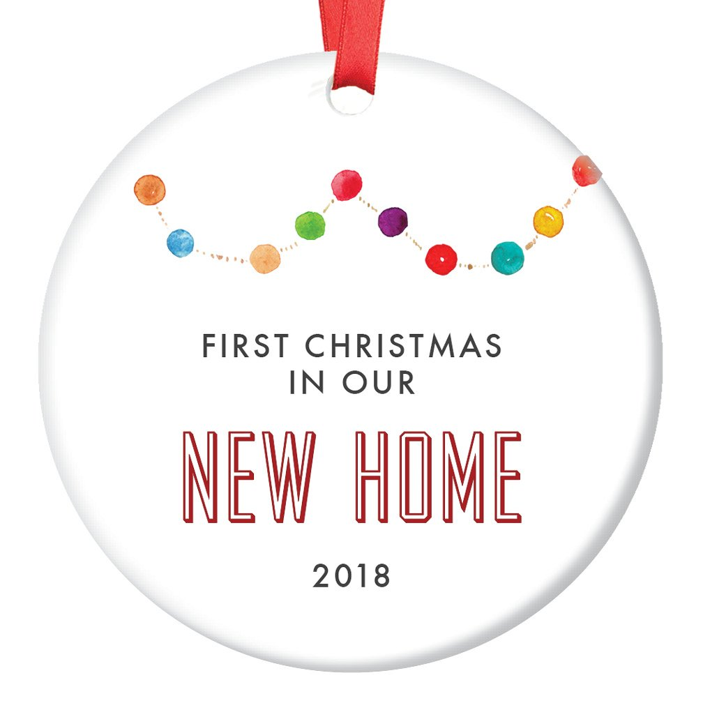 New Home Ornament 2018, Gift for New Homeowners Ceramic Xmas Ornament Present for Housewarming Party First House Colorful Garland Christmas Keepsake 3