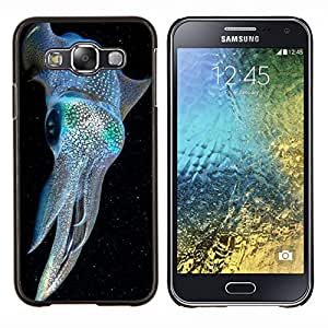 EJOOY---Cubierta de la caja de protección para la piel dura ** Samsung Galaxy E5 E500 ** --kraken iridiscente buceo azul eléctrico