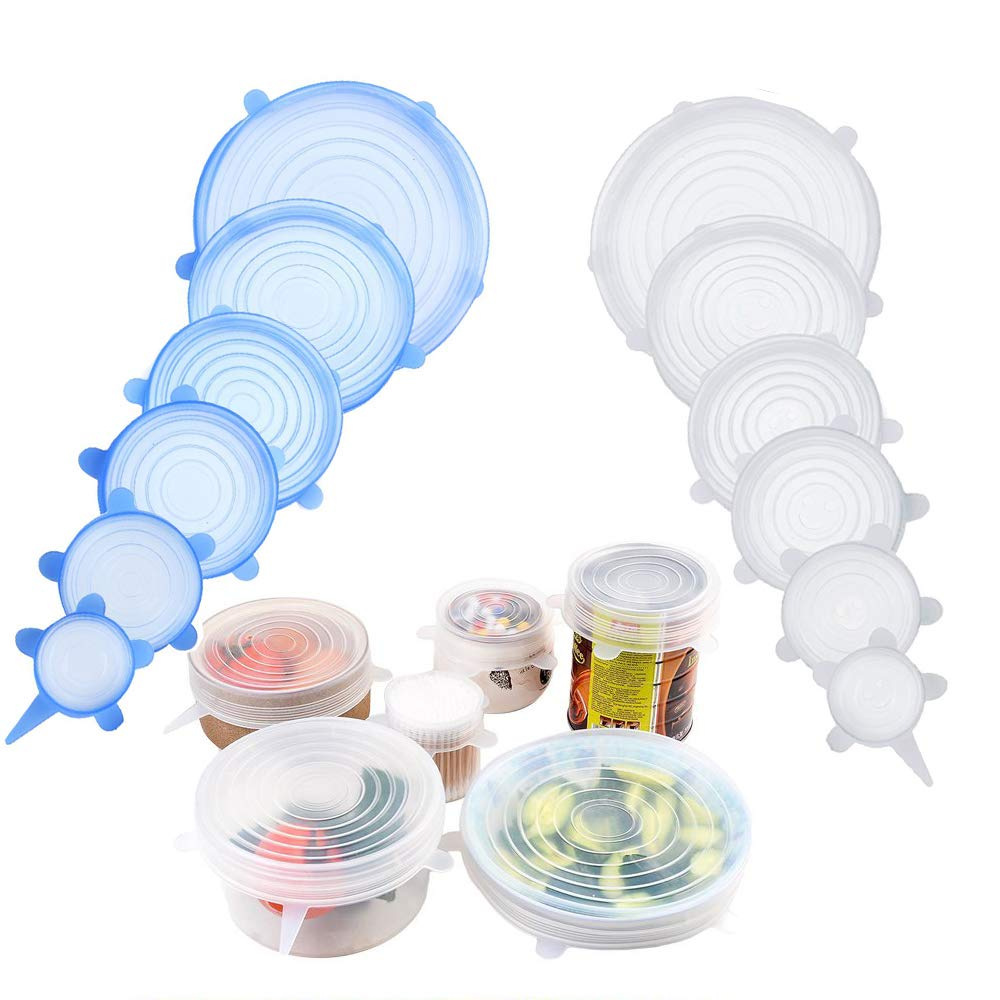 Echodo Silicone Stretch Lids 12 Packs Seal Food Stretch Wrap Reusable Lids BPA Free Various Food Saver Covers for Keeping Food Fresh, Perfect for Fruits & Vegetables or Cups, Bowls, Mugs, Dishes, Can