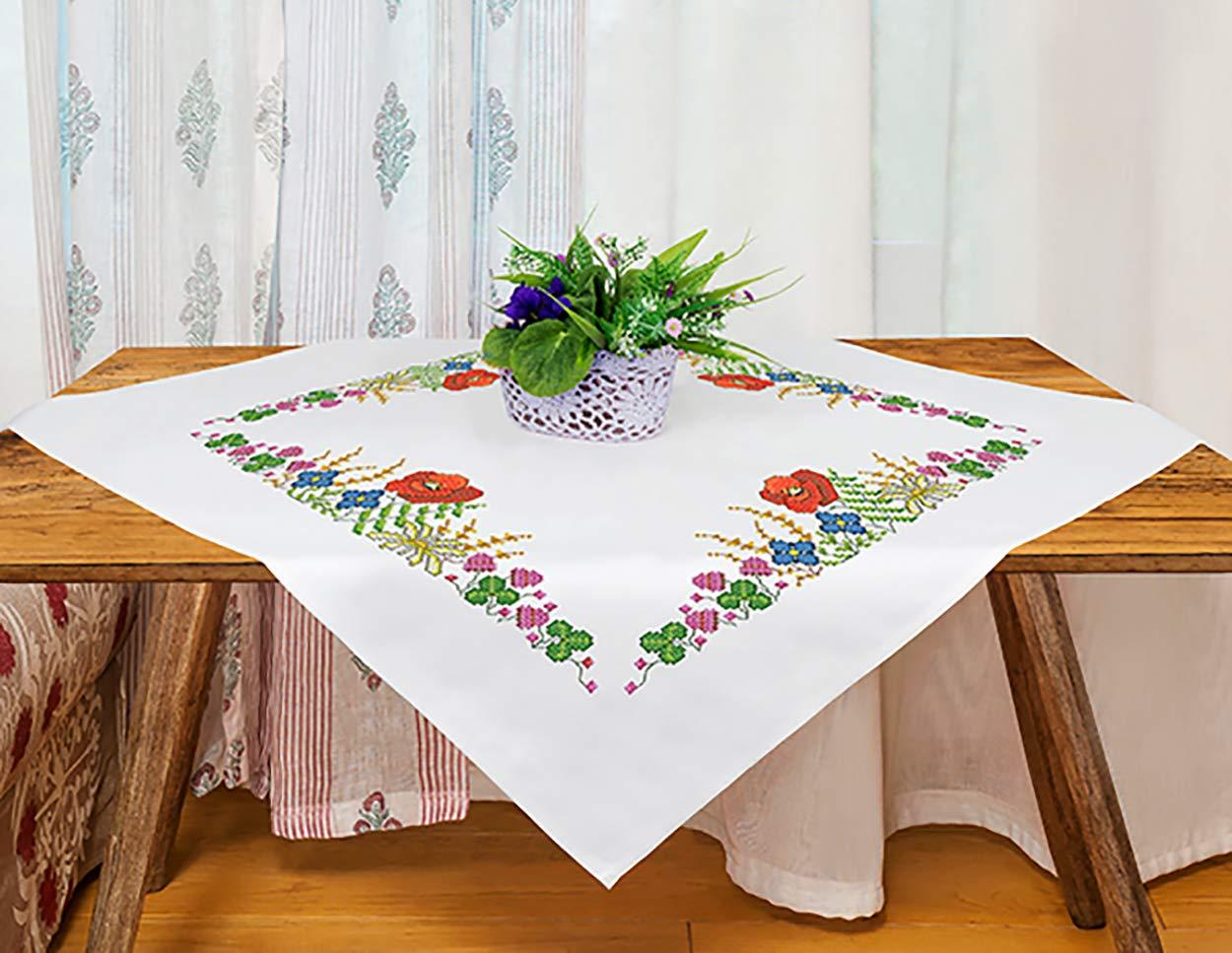 80 x 80 cm Tela e Filo in Cotone Set per Ricamo a Punto Croce Motivo Floreale Kamaca gi/à Cucito con Bordo Decorativo intessuto