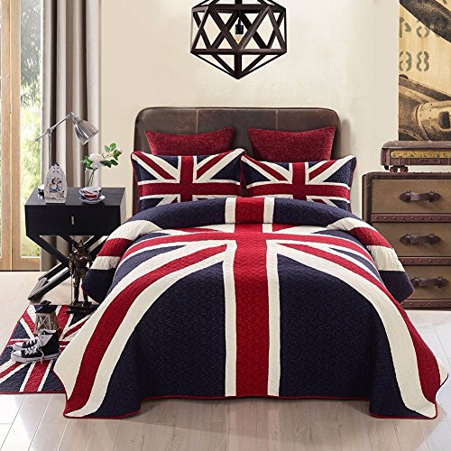 100% Cotton Reversible Coverlet Quilt Set 4 Pieces(1 Quilt,2 Shams,1 Floor Mat)British Style Bedspread Quilt Set Queen Size,Navy Blue by MisDress