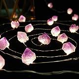 BOHON Decorative Lights Plus Amethyst LED String Lights Battery Operated with Remote 10 ft 30 LEDs Natural Crystal String Lig
