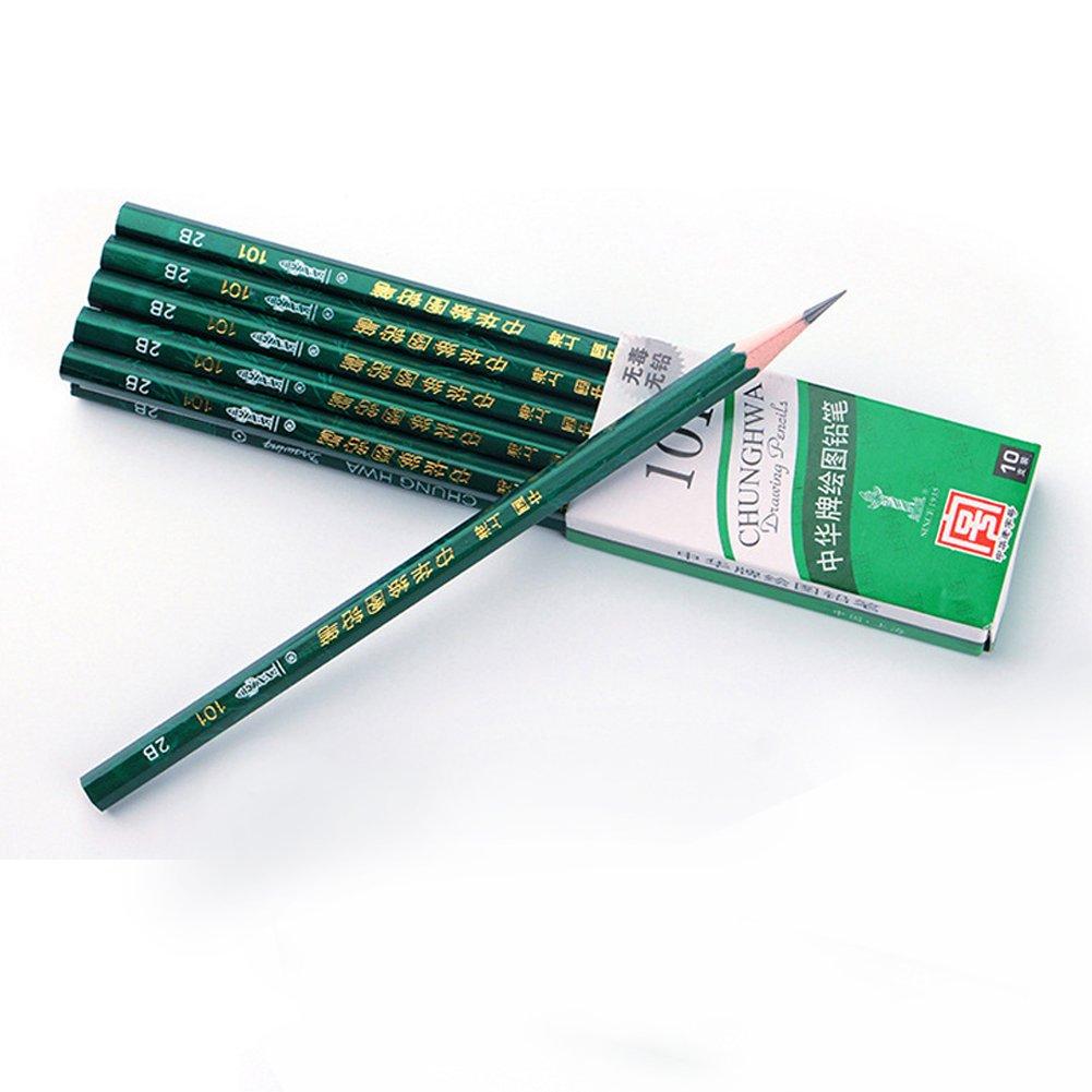 10pz, HB, 2B, 2H, 3B 4B 5B 6B professionale Sketching Art industriale disegno a matita Misura unica HB dragonaur