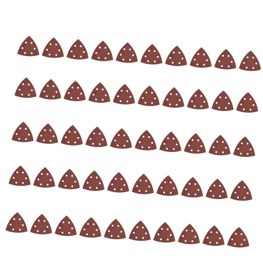 Sharplace 50 Stü ck 6-Loch Schleifblä tter Schleifscheiben Schleifpapier Dreieck Schleifer Papierkissen 90mm - 60 Kö rnung
