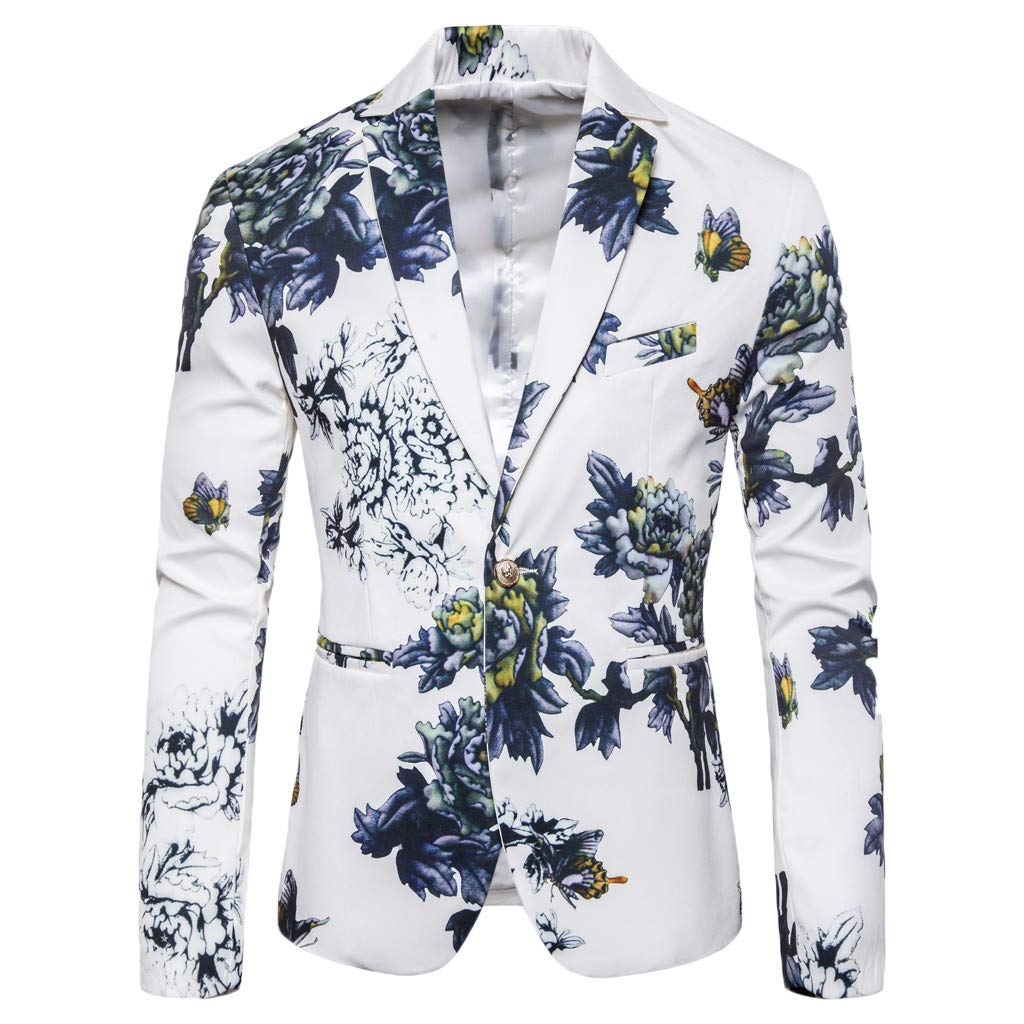 Fauean One-Button Fashion Men's Suit for Pure Color Coat to Cultivate Yourself White by Fauean Clothing