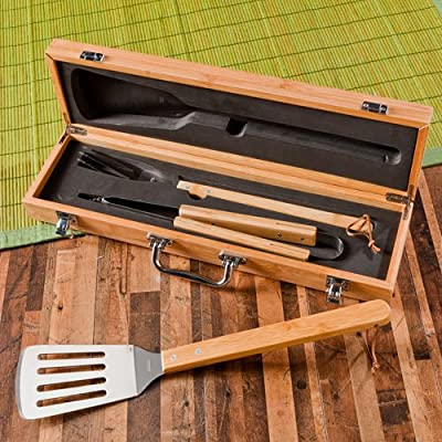 Personalized Grilling BBQ Set with Bamboo Case - Personalized Grill Set