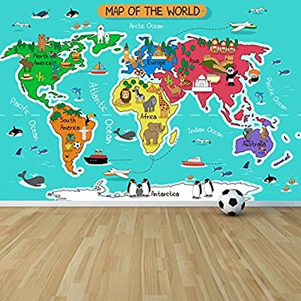 Amazon azutura cartoon animal world map wall mural map photo azutura cartoon animal world map wall mural map photo wallpaper kids bedroom home decor available in gumiabroncs Image collections